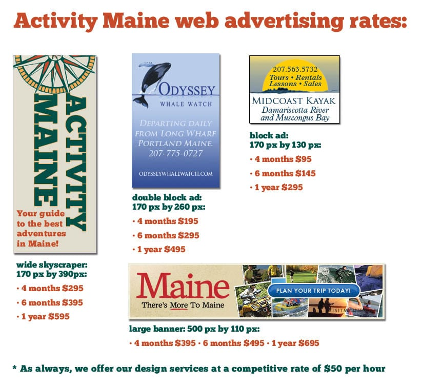 Activity Maine web ad sizes and rates