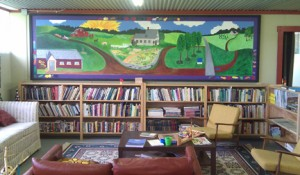 Sheepscot General's book/video library is cozy and inviting