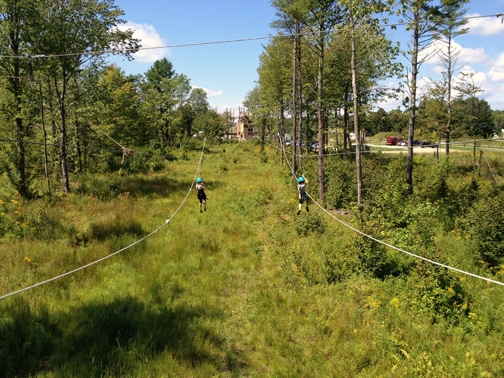 Ziplining at Monkey Trunks in Saco, Maine