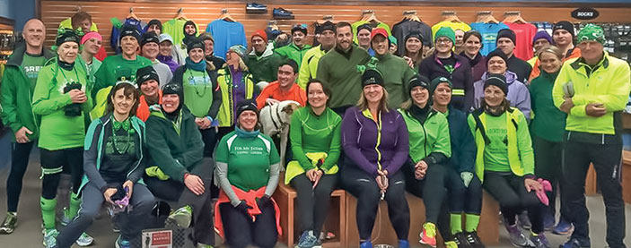 Winter Warriors gathered before a run at the Fleet Feet Sports Maine Running store on Marginal Way in Portland.