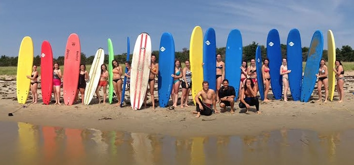 Surfing lessons with Black Point Surf shop