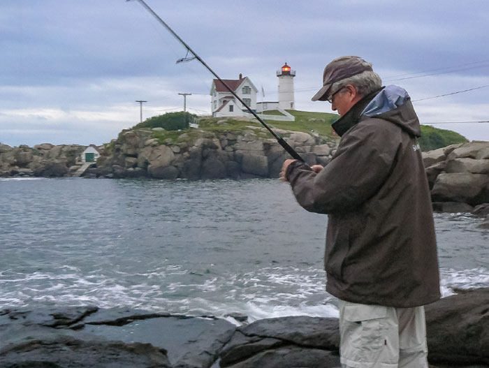 Striped Bass at Nubble light, Dana Benner