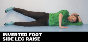 Inverted foot side leg raise