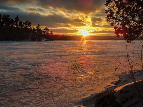Sunrise over Long Pond, AMC's Gorman Chairback Lodge. Photo by Carey Kish