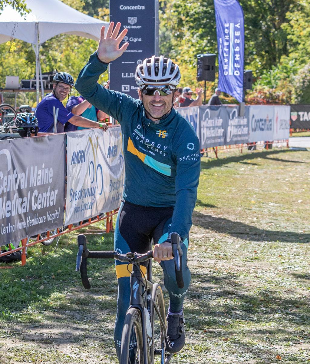 Patrick Dempsey riding in The Dempsey Challenge. Photo courtesy of Derek Bissonette, DB Maine Photography
