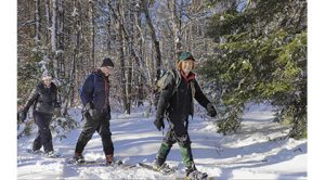 Above Showshoeing with Registered Maine Guide Jeanne Christie. Photo courtesy Jeanne Christie.